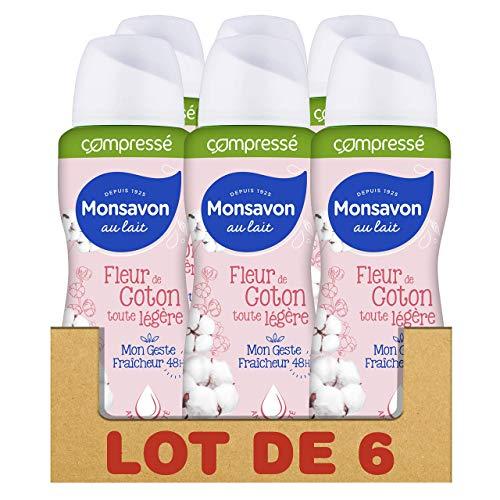 Monsavon Déodorant Anti-Transpirant Femme Spray Compressé Fraîcheur 48h, Fleur de Coton (Lot de 6x100ml)