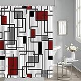 JOOCAR Cortina de ducha geométrica, color negro, rojo y gris, a cuadros, para baño o ducha, tela impermeable, decoración de baño con 12 ganchos