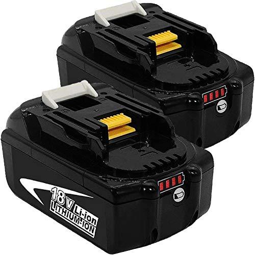 18V 5Ah Akku Ersatzakkus für Makita 18V Akku Werkzeugbatterien mit Indikator 2 Stück mit BL1850B BL1850 BL1860B BL1860 BL1840B BL1840 BL1830 BL1835 BL1845 194204-5 LXT-400 mit LED Indikator