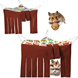 2 Pieces Corner Hideout for Guinea Pigs Forest Hideaway Peekaboo Pet Cage Accessories Funny Habitat Tent Hammock with 3 Hooks and Curtain Sides for Small Animals Hamster Ferret Mice Chinchilla