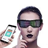 Gafas LED, Control de Aplicación Bluetooth, Gafas LED Dinámicas 4 Modos, 11 Animaciones, Las Gafas de Neón DIY son para Fiestas, Cumpleaños, Halloween, Carnavales de Bares