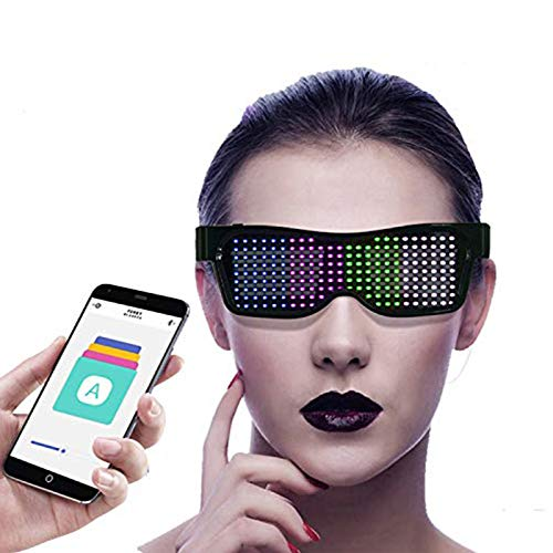 Eamplest LED Brille Bluetooth APP Steuerung, 4 Modi 11 Animationen, DIY Neon Draht Brille mit App für iPhone iOS Android und Google Play ,für Raves Festival Clubs Motto Partys