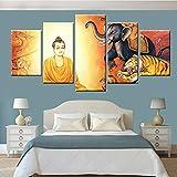 KWzEQ Impresión Modular HD 5 tableros Arte de la Pared Estatua de Buda Lienzo Pintura Cartel Estudio Sala de Estar decoración del hogar,Pintura sin Marco,30x40cmx2, 30x60cmx2, 30x80cmx1