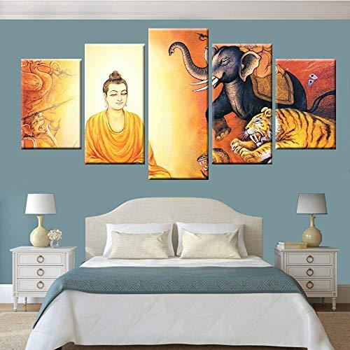 KWzEQ HD modularer Druck 5 Brett Wandkunst Buddha Statue Leinwand Malerei Poster Studie Wohnzimmer Wohnkultur,Rahmenlose Malerei,20x35cmx2, 20x45cmx2, 20x55cmx1