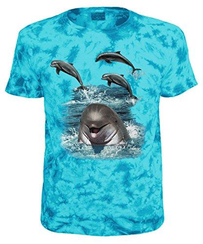Kinder T-Shirt Tiermotiv Delfine Blau Batik Größe 140