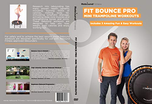 Fit Bounce Pro Mini Trampoline Exercise DVD | Includes 3 Fantastic Rebounder Workouts for Fitness & Weight Loss | Fun Indoor Trampoline Workouts