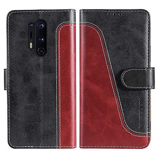 FMPCUON Handyhülle für OnePlus 8 Pro Hülle Leder,Premium Klapphülle Handytasche Flip Hülle Handy Hüllen Schutzhülle für OnePlus 8 Pro,Rot/Schwarz