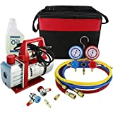 YaeKoo 110V 3CFM 1/4HP Single Stage Rotary Vane Air Vacuum Pump HVAC A/C Refrigeration Kit AC Manifold Gauge Set R134A R12 R22 R404A R410A with Carrying Bag/Tote