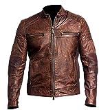 Mens Biker Vintage Motorcycle Distressed Brown Cafe Racer Leather Jacket, Medium