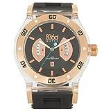 B360WATCH oro unisex orologio da polso Large, 5bars al quarzo in silicone B CLASS BLACK CLEAR L