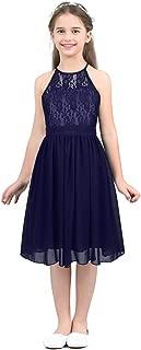 Girls Halter Lace Chiffon Flower Wedding Bridesmaid Dress Junior Ball Gown Formal Party Pageant Maxi Dress