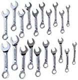 Craftsman 9-34956 Professional Standard and Metric Full Polish Stubby 12 Point Combination Wrench Set, 20-Piece