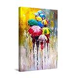 Startonight Cuadro Moderno en Lienzo - Pintura Feliz De Paraguas De Colores - Pintura Abstracta Para Salon Decoración Grande 80 x 120 cm