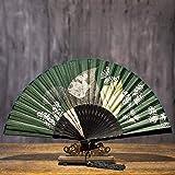 Abanico Plegable De Mano Summer Vintage Chinese Green Plant, Green Leaf, Butterfly Ventiladores Plegables Ahuecados Ventilador Plegable Para Dance Pocket Gifts Decoración Del Hogar Ventilador Plega