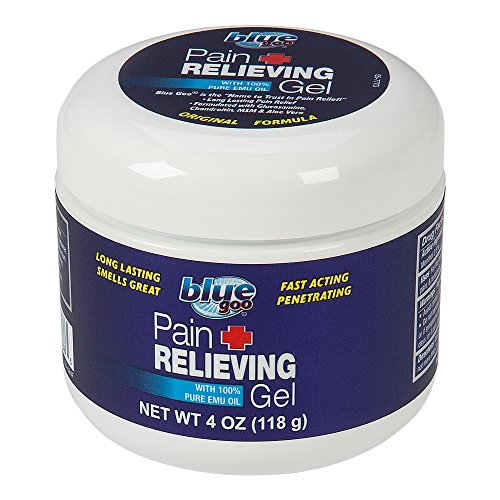 BLUE GOO PAIN RELIEVING GEL, 4 Ounce, Fast Acting, Cooling/Soothing Relief, for Back/Neck Pain, Muscle/Joint Pain, Arthritis, Sprains, Bursitis, Strains, Tendonitis, made with 100% PURE EMU OIL