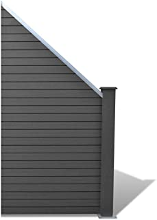 SKB family Slanted WPC Garden Fence Panel Gray, Gray, Wood-Plastic Composite