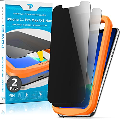 Power Theory Privacy Screen Protector for iPhone 11 Pro Max/iPhone XS Max Tempered Glass [2-Pack] Anti-Spy protection with Easy Install Kit [Case Friendly][6.5 Inch]