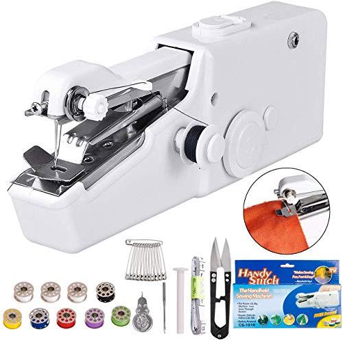 DUTISON Nähmaschine, Mini Handnähmaschine Tragbar Elektrische Schneller Handlicher Stich für Kleidung Stoff, Vorhang, Schal, DIY mit 24 Zubehör-Weiß