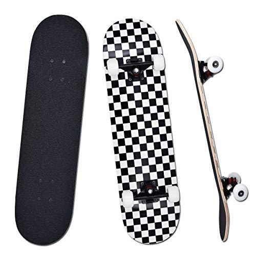 YUDOXN Completo Skateboard per Principianti, Bambini, Giovani e Adulti. skateboard adulto. 31 'x 8' skateboard 7 Strati di Acero Double Kick Deck Concavo Skate Board con Cuscinetti a Sfera ABEC-7