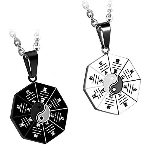 JewelryWe 2pcs Black & Silver Unisex Mens Stainless Steel Necklaces Yin Yang Taiji Eight Diagrams Pendants, Two 22 inch Chains