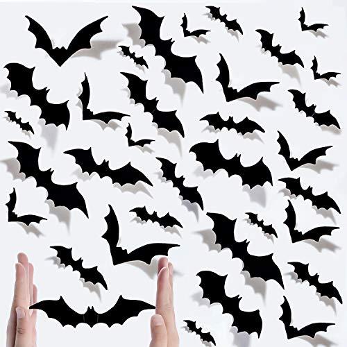 Halloween Chauve-souris 120 Pcs 3D Bat Autocollants, Halloween 3D Bat Stickers Muraux Noir Amovible Décorations De Chauve-Souris pour Halloween Home Party Fournitures