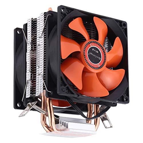 Refrigeración por ventilador de computadora CoolAge AMD CPU Disipador de calor Rodamiento hidráulico Ventilador de refrigeración Ventilador de refrigeración doble 3 pines for Intel LGA775 115X2 AM3 AM