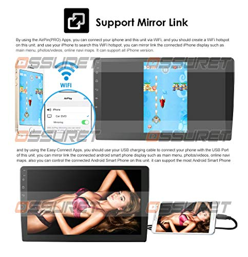 Android 10 Double Din 9 Inch Car Stereo for Lexus/Toyota Harrier 2003-2009 Head Unit Supports GPS Bluetooth Mirror-Link FM WiFi 4G Steering Wheel Control TPMS Car Navigation