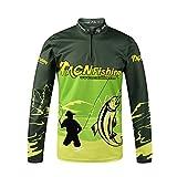Vim Autunno Manica Lunga Stand Collare Maglia da Pesca Sciolto Abbigliamento Traspirante Antizanzare Vestiti per Escursioni Campeggio Verde XXL