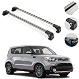 Roof Rack Crossbars Fits Kia Soul 2014-2019 | Luggage Kayak Cargo Hard-Shell Carrier | Aluminum Rooftop of Your Car or SUV | Silver 2 Pcs.
