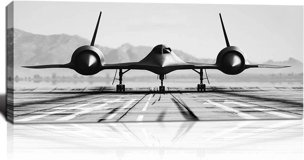 KLVOS Black and White Wall Art Large Airplane Aircraft Picture Print on Canvas for Boy Room Home Office Decoration Vintage Plane Framed Artwork Stretched Framed Ready to Hang 20x48inch