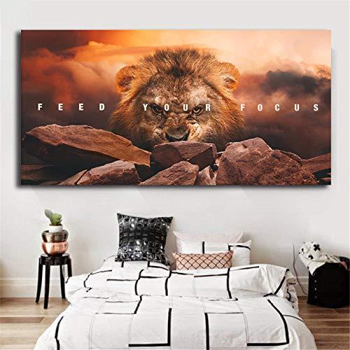 Cartel de león inspirador Feed Your Focus Impresiones en lienzo Cuadro de arte de pared Pinturas modulares para el cartel de la sala de estar en la decoración de la pared   60x120cm Sin marco