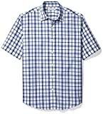 Amazon Essentials Men's Regular-Fit Short-Sleeve Casual Poplin Shirt, White/Blue Plaid, X-Large