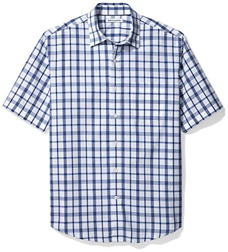 Amazon Essentials Herren-Hemd, Kurzarm, normale Passform, kariert, aus Popeline, White/Blue Plaid, Large