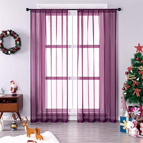 MRTREES Sheers Curtains 84 inches Long Bedroom Voile Curtain Panels Christmas Xmas Holiday Rod Pocket Sheers Light Filtering Living Room Draperies Window Treatment Set 2 Panels Plum
