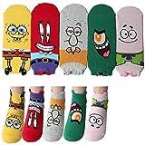 Spongebob Schwammkopf Charakter Knöchel Socken 5 Paaren - Herr Krabs, Patrick Star, Plankton, Thaddäus-Tentakel, SpongeBob SquarePants Sneakersocken