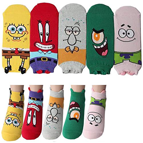 Spongebob Schwammkopf Charakter Knöchel Socken mit Beutel Packung mit 5 Paaren - Thaddäus Tentakel, Mr. Krabs, Patrick Star, Plankton, Squidward Tentacles, SpongeBob SquarePants Sneakersocken