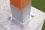 Gartenwelt Riegelsberger Pfostenträger Bodenhülse Pfostenschuh verzinkt Aufschraubhülse 71x71 mm inkl. Schrauben