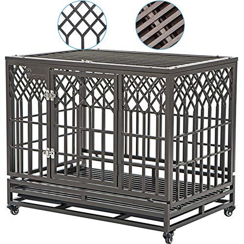 """SMONTER 38"""" Heavy Duty Strong Metal Dog Cage Pet Kennel Crate Playpen with Wheels, Y Shape, Brown"""