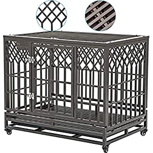 SMONTER 38″ Heavy Duty Strong Metal Dog Cage Pet Kennel Crate Playpen with Wheels, Y Shape, Brown