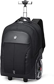 Rjj Business Trolley Case Big Wheel Trolley Backpack Outdoor Travel Bag Schoolbag Waterproof Large Capacity Backpack Backpack Exquisite (Color : Black, Size : 20in)