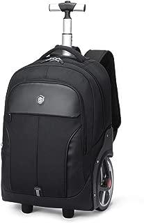 RJW Business Trolley Case Big Wheel Trolley Backpack Outdoor Travel Bag Schoolbag Waterproof Large Capacity Backpack Backpack Fashion (Color : Black, Size : 20in)
