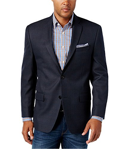 Michael Kors Mens Classic Two Button Blazer Jacket, Blue, 38 Regular