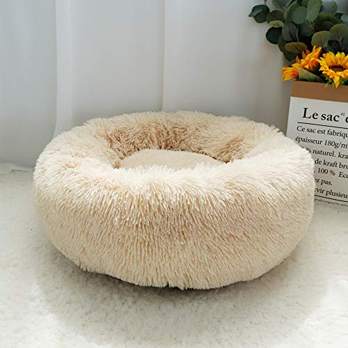 Fluffy Kalmerende Dog Bed lange pluche Donut Pet Bed Hondenmand Ronde Orthopedische Lounger Slaapzak Kennel Puppy Cat Slaapbank House (Color : Light Coffee, Size : Diameter 100cm)