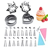 Packaging: Baking supplies include 12 cookie molds and 16 cake decoration kits. The cookie cutter is available in flower, heart, round and star shapes. There are 3 models of different sizes for each shape. There are two reusable piping bags in the ca...
