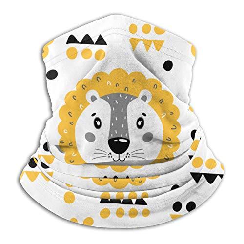 Calentador de Cuello de Microfibra Unisex Patrón de Vector Lindo Cara de León Pasamontañas Sombreros Bufanda para Polvo Viento Protección Solar