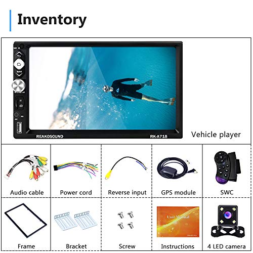 Double Din Android Car Stereo with GPS Navigation, 7 Inch Touch Screen Car Radio Support Bluetooth WiFi FM Radio Mirror Link USB/TF Card Subwoofer Output + Backup Camera & Steering Wheel Control