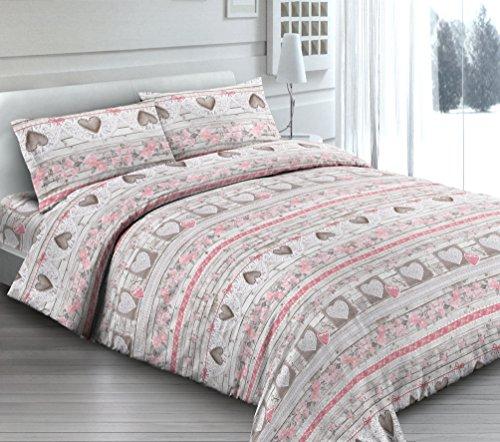 Housse de couette avec taie d'oreiller pour lit simple shabby Love Cœurs Cœur Rose – Sac couette idée cadeau Produit italien – Fabriqué en Italie