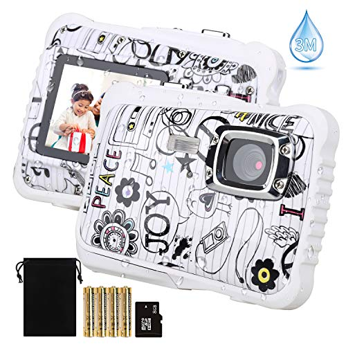 【2019 Newest Kids Camera】 Kids Camera, Waterproof Digital Camera for Children, 12MP HD Underwater Camcorder with 3M Waterproof, 2.0 Inch LCD Screen, 8X Digital Zoom, Flash Mic and 8G SD Card