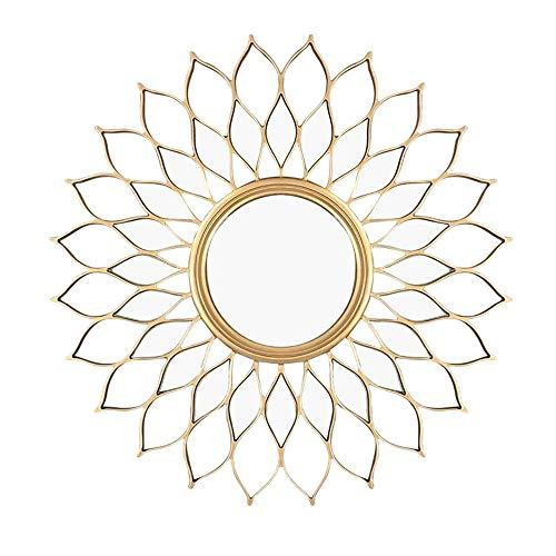 Espejo Decorativo, Espejo de Pared de Flor de Sol de Madera Redondo Europeo y Americano, Pasillo Porche Sala de Estar Fondo de TV Espejo Colgante de Pared, 80 cm