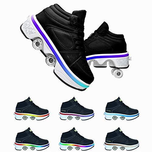JZIYH USB Recargar Led Luces Skateboarding Zapatos con Ruedas Dobles para Niños Y Niña Calzado De Deportes De Exterior Patines Brillante Gimnasia Zapatillas